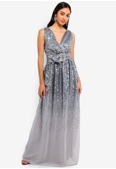 f973995639435 Goddiva silver Sequin And Chiffon Wrap Maxi Dress 2E4A7AA72F2AF0GS 1
