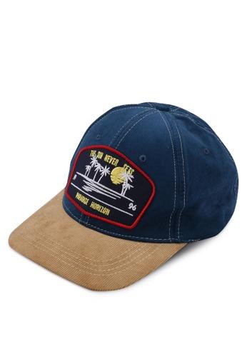 River Island blue Paradise Badge Baseball Cap 80CE2ACA837A1DGS_1