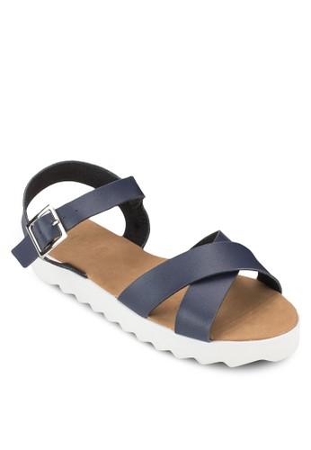 Saxony 交叉帶繞踝厚底防滑涼鞋, 女鞋,esprit 香港 outlet 鞋