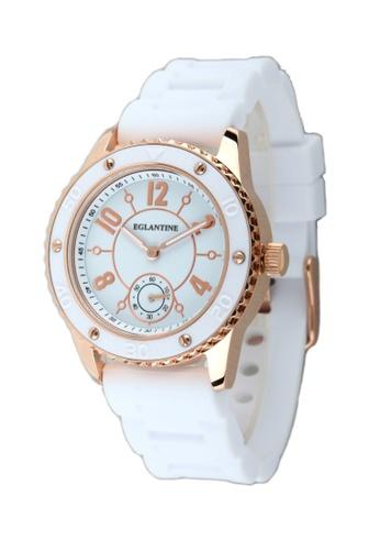 EGLANTINE gold EGLANTINE® Vanessa Ladies Pink Gold Plated Steel Quartz Watch White Dial on White Rubber Strap C25EFAC4899853GS_1