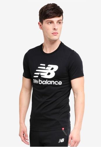 New Balance 黑色 Lifestyle Essentials Stacked LOGO印花T恤 31D72AAF6BD83DGS_1