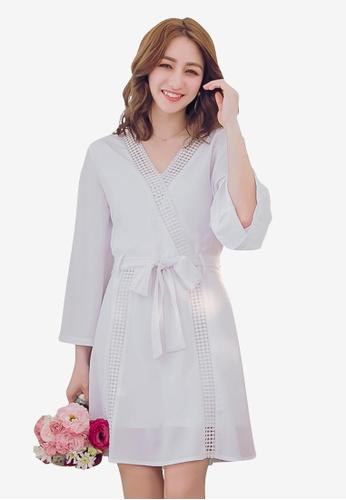 YOCO white Wrap Front Laser Cut Dress 6D745AAC7D3CD1GS_1