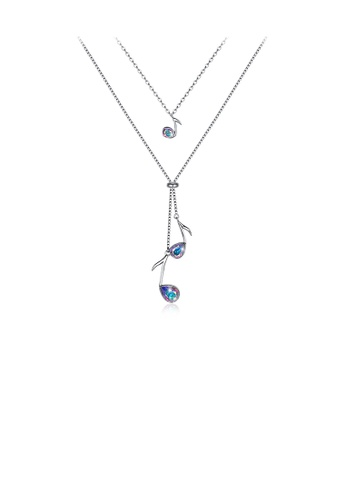 Glamorousky multi 925 Sterling Silve Elegant Fashion Musical Note Necklace with Austrian Element Crystal 1622DAC07025EEGS_1