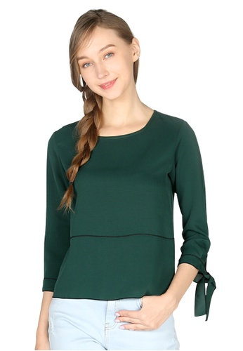 London Rag green Green Elbow Sleeve Casual Top FD6B8AAB5562A5GS_1