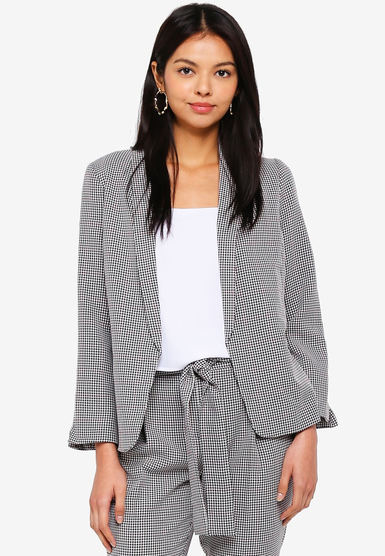 Petite Check Formal Jacket Black Dorothy Perkins T4UTr1w
