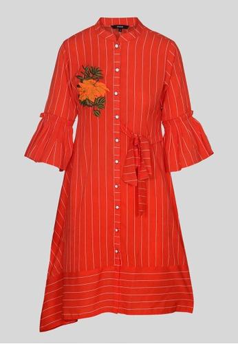 Le Reve white and orange Le Reve Orange 3/4 Sleeves Shirt Dress with Self Tie 066A5AADBECF1FGS_1