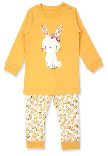 Organic mom yellow Girls Autumn-Winter Bunny Home-wear  Pajamas BDC0BKAA9605B5GS_1