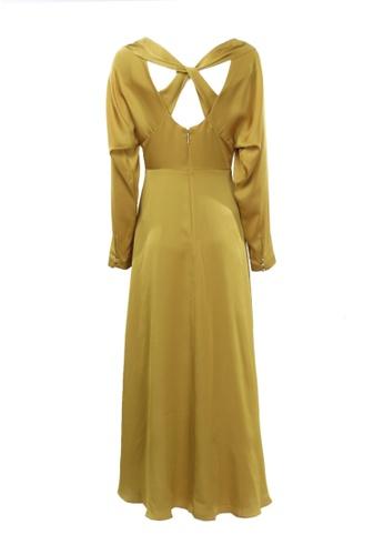 kate spade new york gold Twist Back Midi Dress Golden Raisin 2 CCCA6AAF598615GS_1