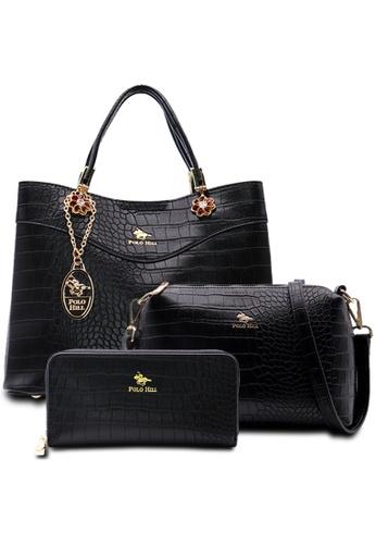 POLO HILL black POLO HILL Scaly Textured Handbag 3-in-1 Set DC92BACF5C866FGS_1