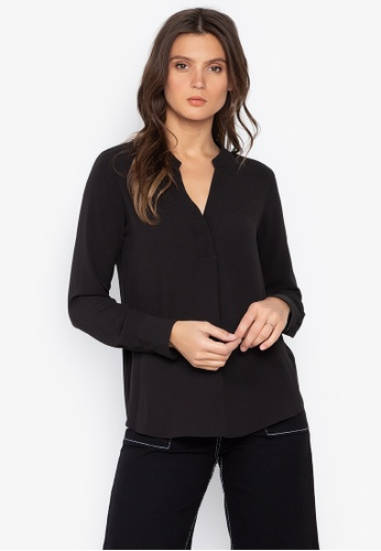 MARKS & SPENCER black Satin Popover Top 5541AAA555F494GS_1