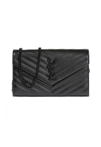 SAINT LAURENT black Yves Saint Laurent Monogram IN GRAIN DE POUDRE EMBOSSED LEATHER Chain Wallet in Black/Black FA5D3AC8CD8213GS_1