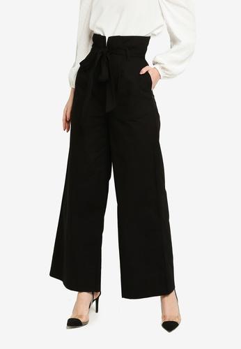 Zalia black Belted Wide Leg Pants 3E0E1AA106633EGS_1
