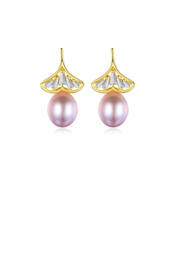 Glamorousky white 925 Sterling Silver Plated Gold Fashion and Elegant Ginkgo Leaf Purple Freshwater Pearl Earrings with Cubic Zirconia 6FD15AC4501BCEGS_1