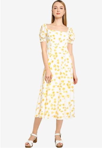 Forever New yellow Brianna Printed Midi Dress 4666FAA8DB3332GS_1