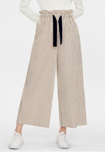 Pomelo brown Striped Elastic Waist Pants - Brown FA347AAF2F43BEGS_1