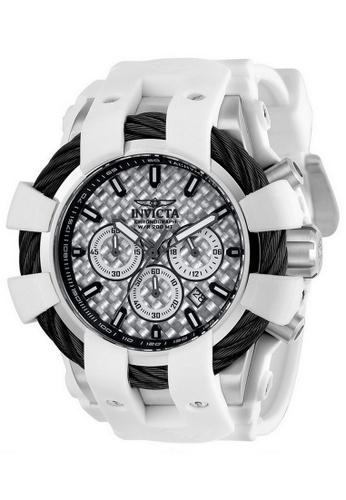INVICTA silver Invicta Bolt Men 48mm Case White Silicone Strap Silver Dial Quartz Watch 23857 w/ Cap IN968AC0FDJ2SG_1