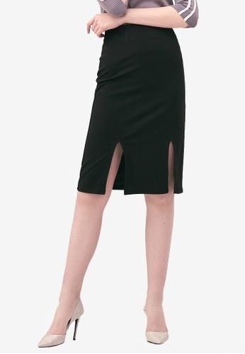 Kodz black Slit Hem Midi Skirt 7EE07AA416F66AGS_1
