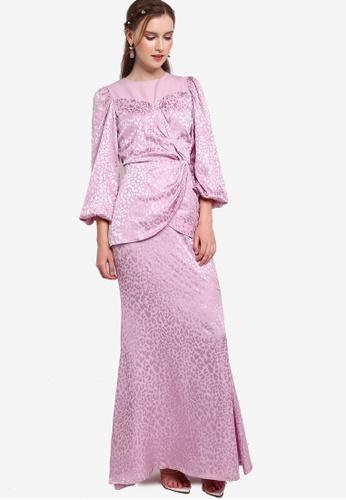 Lubna purple Textured Satin Wrap Top Kurung E15CDAADA8A899GS_1