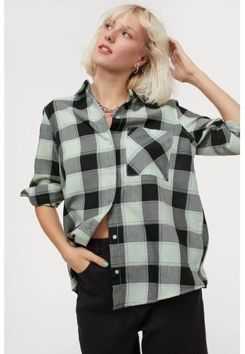 H&M green Cotton shirt D290CAAFD5E54CGS_1