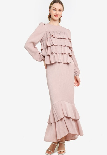 Lubna 米褐色 Layered Frills Kurung 9A411AAAB81BEFGS_1