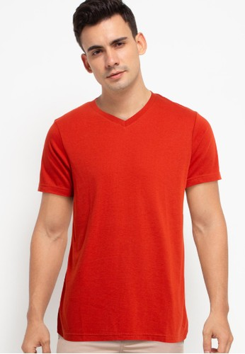 Tolliver red V Neck Basic Short Sleeve Tee 800F5AA2DFFA9EGS_1