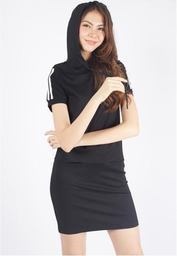 Moss Fashion black Hoodied Sport Dress in Black 225CAAA787DE3AGS_1