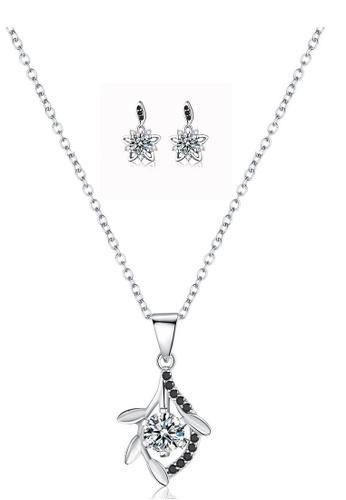 A-Excellence white Premium Elegant White Sliver Necklace Earring Set 8587EAC0EDB210GS_1