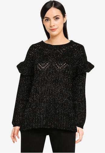 Old Navy black Femme Pointelle Ruffle Lurex Sweater 4872CAA9BB19DCGS_1