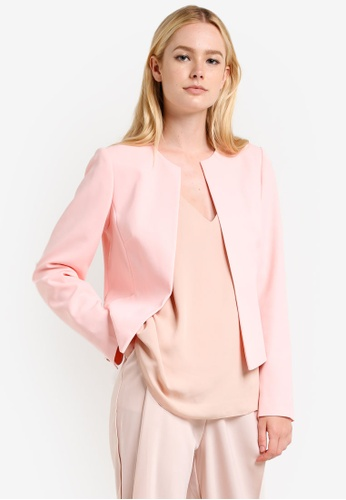 Dorothy Perkins pink Nude Crepe Crop Jacket DO816AA71SZOMY_1