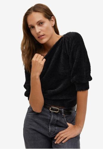 Mango black Faux-Fur Textured Sweater 75F86AABB0AB35GS_1