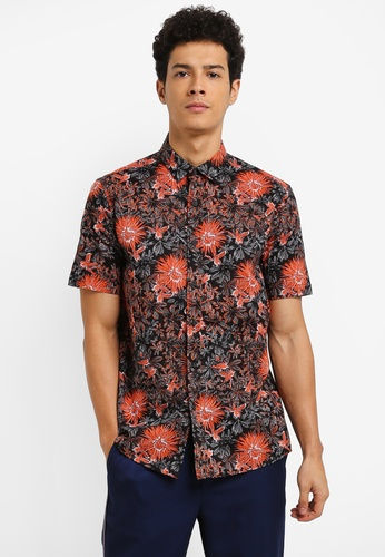 Topman orange Floral Printed Shirt E7781AAEAE441AGS_1