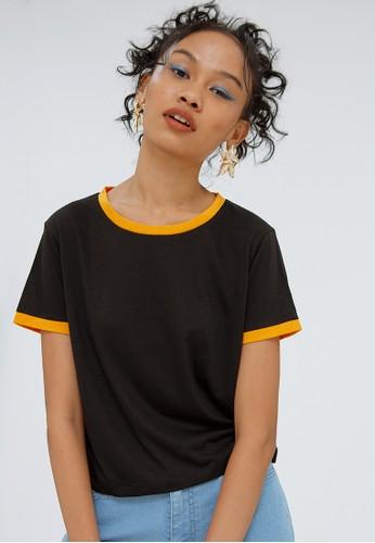 COLORBOX black Crop Contrast T-Shirt D4773AAAC5FC88GS_1