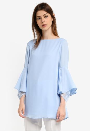 Zalia blue Lace Cuff Flare Sleeve Tunic C5DF0AA416F7ADGS_1