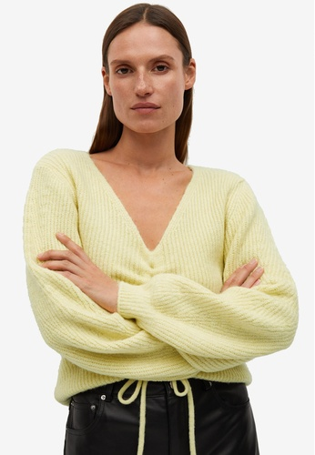 Mango yellow Ruched Detail Sweater 9EA44AA7289DB5GS_1