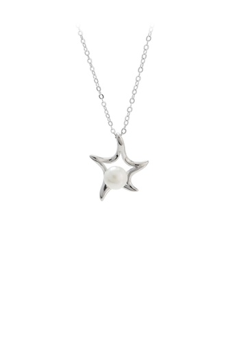 Glamorousky white 925 Sterling Silver Fashion Simple Starfish White Freshwater Pearl Pendant with Necklace B6D48AC44ADD09GS_1