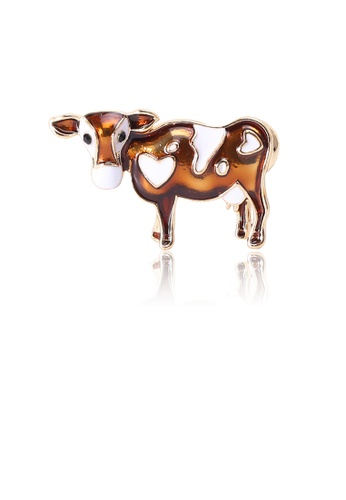 Glamorousky silver Simple and Cute Plated Gold Brown Cow Brooch E1B69AC07FCBE6GS_1