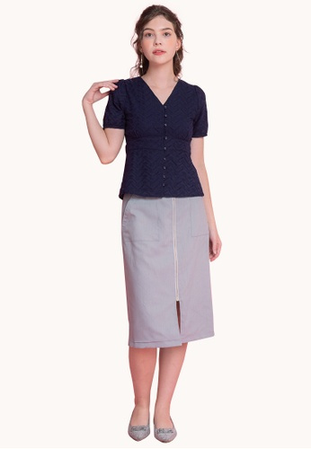 L'zzie navy LZZIE CHAVA TOP - NAVY A0D5FAAB6F747AGS_1
