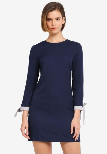 ZALORA navy Shift Dress With Sleeve Trim F62BDAA51241F9GS_1