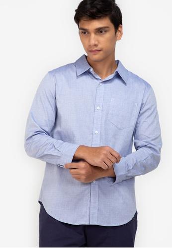 ZALORA BASICS navy Weave Pattern Shirt C2269AA5AD438CGS_1