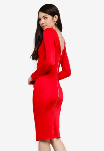 Goddiva red Long Sleeved Fitted Midi Dress With Zip Detail CFA7AAA7DCDBCFGS_1