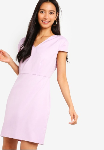 ZALORA purple Wide V-Neck Cap Sleeves Dress 96AD9AAA7877E8GS_1