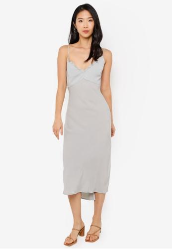 Abercrombie & Fitch blue Faux Silk Slip Midi Dress D4369AA72DBA56GS_1