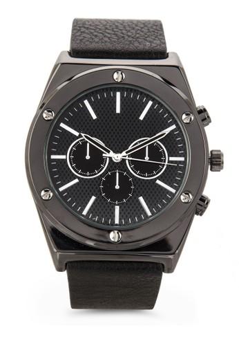 esprit門市地址三指針鵝卵紋仿皮圓錶, 錶類, 飾品配件