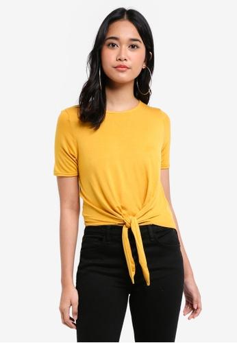 Miss Selfridge yellow Ochre Tie Front Crop Top B11DBAA9670000GS_1