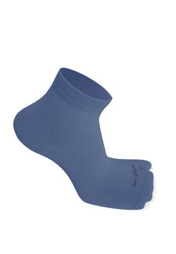 SOXGALERI blue Sox Galeri Anti-Bacterial Cotton Thumb Ankle Socks for Women C9AFDAA811B513GS_1