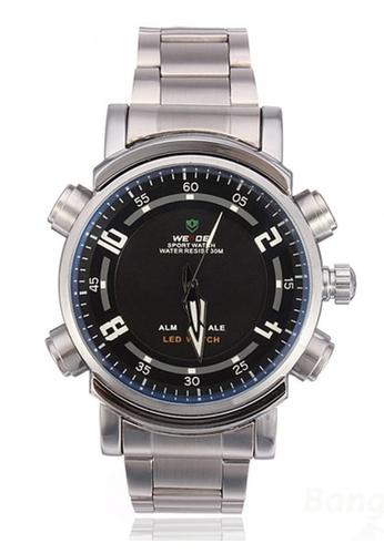 Weide silver Weide WH-1101 Dual Time Led Analog Digital Sport Watch Silver Black WE079AC0RQKCMY_1