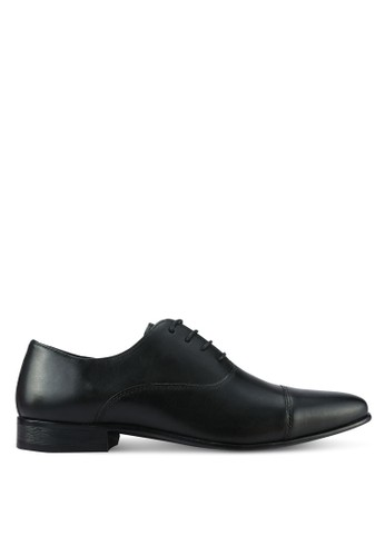 River Island black Leather Toecap Oxford Shoes RI009SH0RLTOMY_1