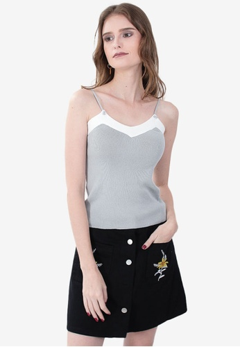 Somura grey and white Knitted Sleeveless Top C1280AA66E26B9GS_1