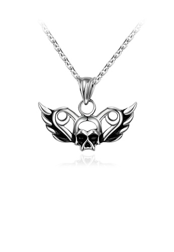 Glamorousky silver Vintage Fashion Skull and Wings Pendant Necklace 48407AC493B148GS_1