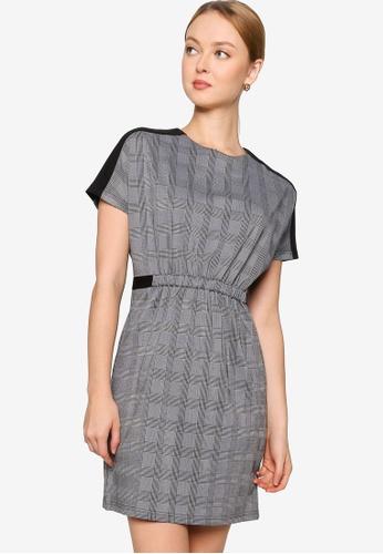 ZALORA WORK grey and multi Drawstring Contrast Panel Dress 86139AA31C2370GS_1